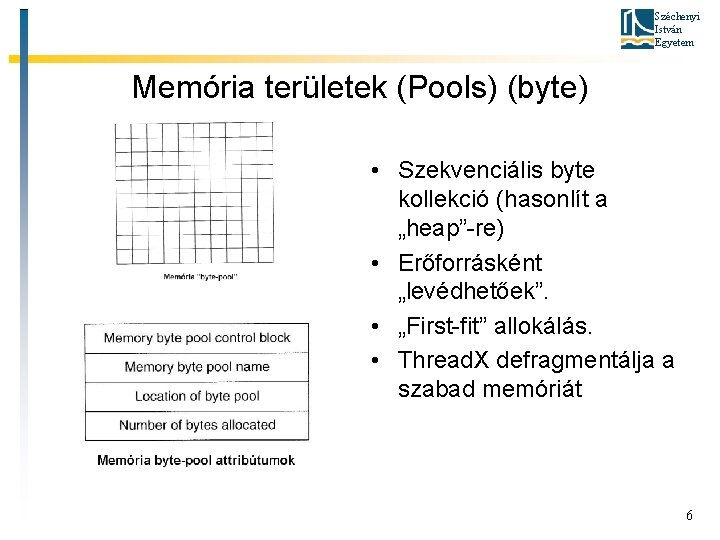 """Széchenyi István Egyetem Memória területek (Pools) (byte) • Szekvenciális byte kollekció (hasonlít a """"heap""""-re)"""