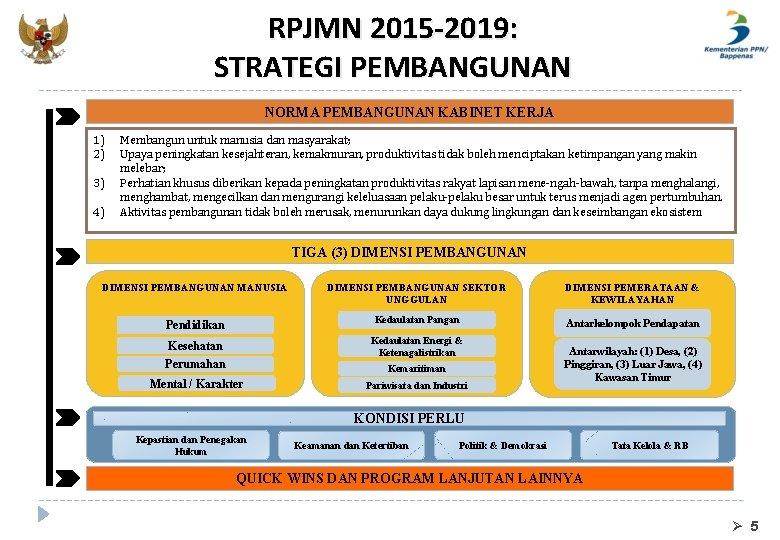 RPJMN 2015 -2019: STRATEGI PEMBANGUNAN NORMA PEMBANGUNAN KABINET KERJA 1) 2) 3) 4) Membangun