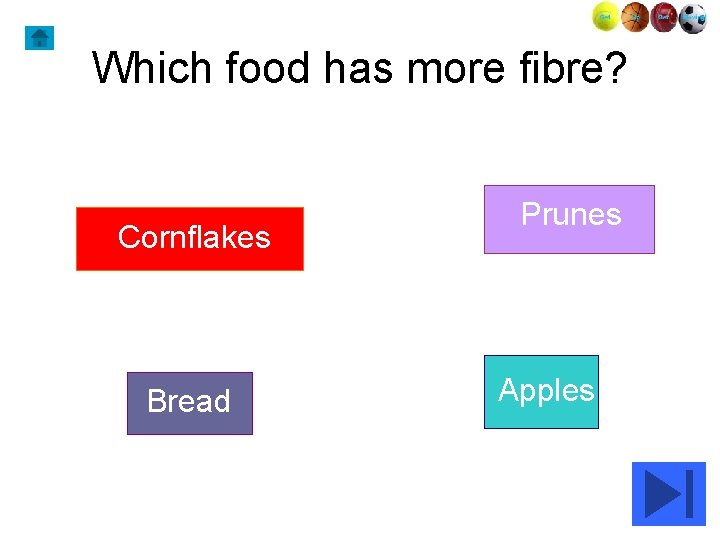 Which food has more fibre? Cornflakes Bread Prunes Apples