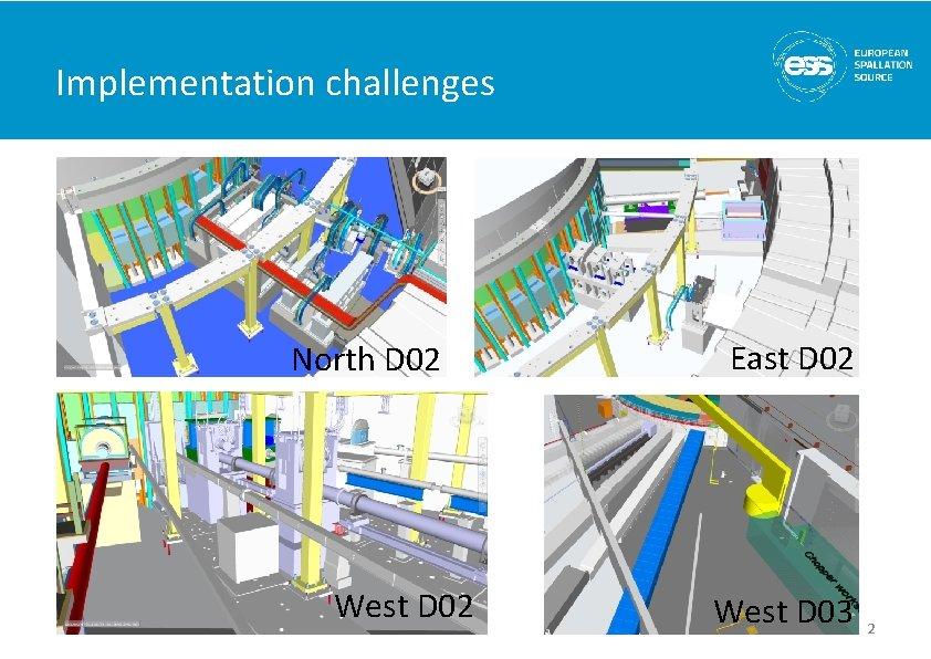Implementation challenges North D 02 West D 02 East D 02 West D 03