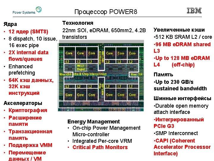 Процессор POWER 8 Технология Ядра 22 nm SOI, e. DRAM, 650 mm 2, 4.