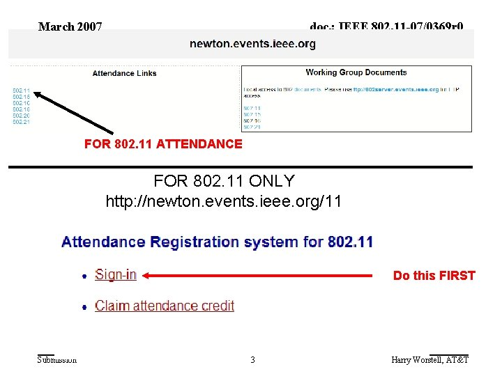 March 2007 doc. : IEEE 802. 11 -07/0369 r 0 FOR 802. 11 ATTENDANCE