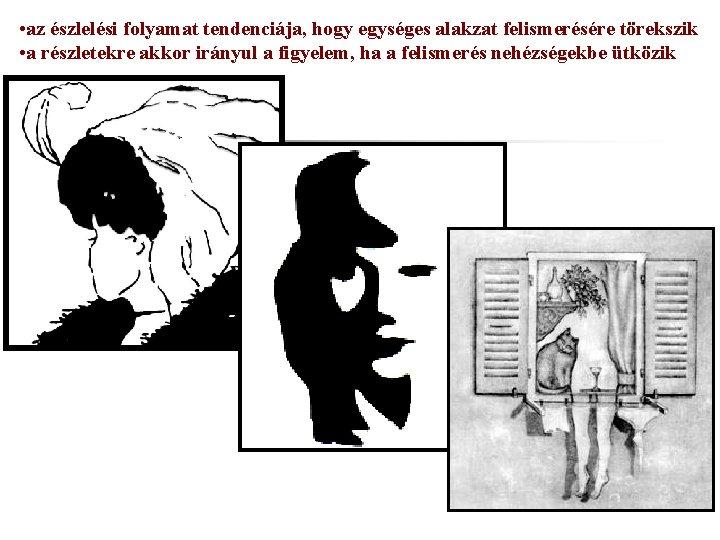 • az észlelési folyamat tendenciája, hogy egységes alakzat felismerésére törekszik • a részletekre