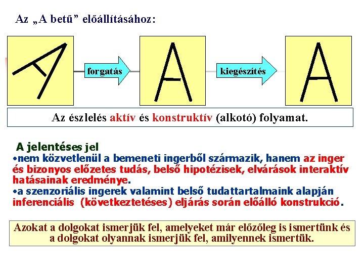"""Az """"A betű"""" előállításához: forgatás kiegészítés Az észlelés aktív és konstruktív (alkotó) folyamat. A"""