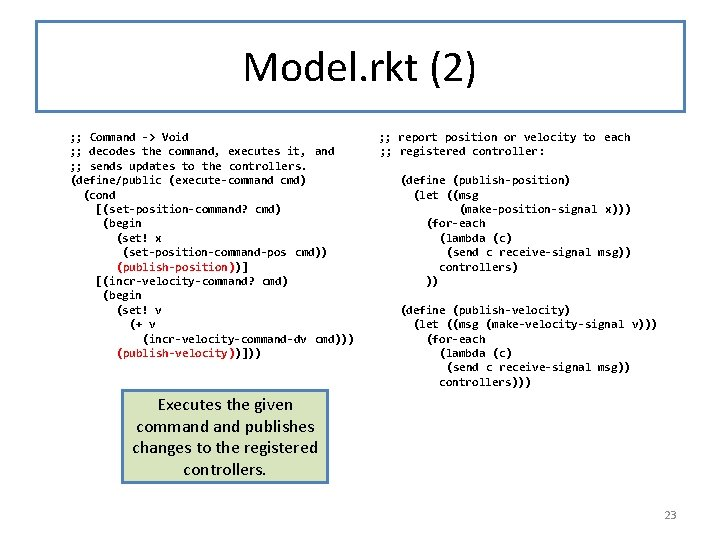 Model. rkt (2) ; ; Command -> Void ; ; decodes the command, executes