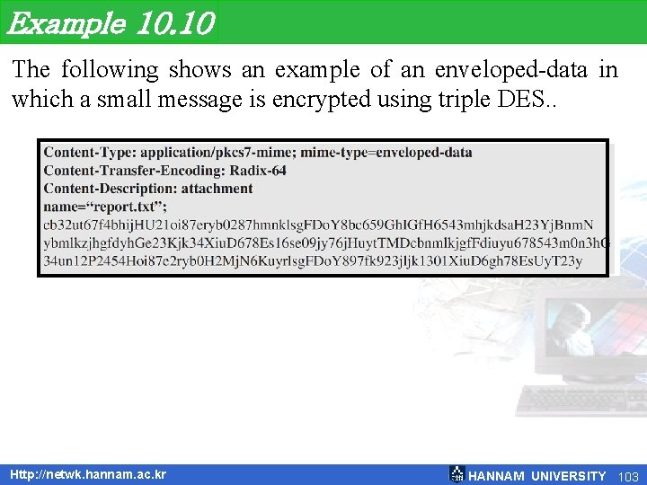 Example 10. 10 The following shows an example of an enveloped-data in which a