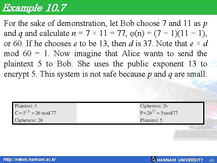 Example 10. 7 For the sake of demonstration, let Bob choose 7 and 11