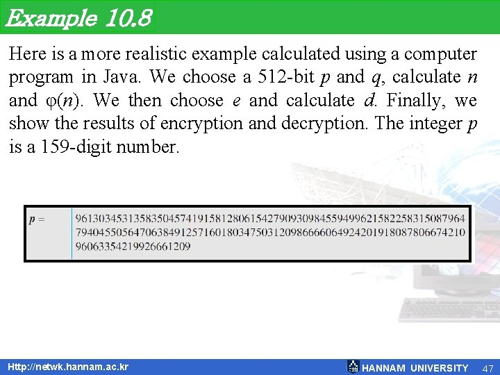 Example 10. 8 Here is a more realistic example calculated using a computer program