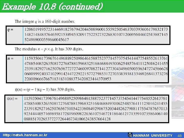 Example 10. 8 (continued) Http: //netwk. hannam. ac. kr HANNAM UNIVERSITY 48