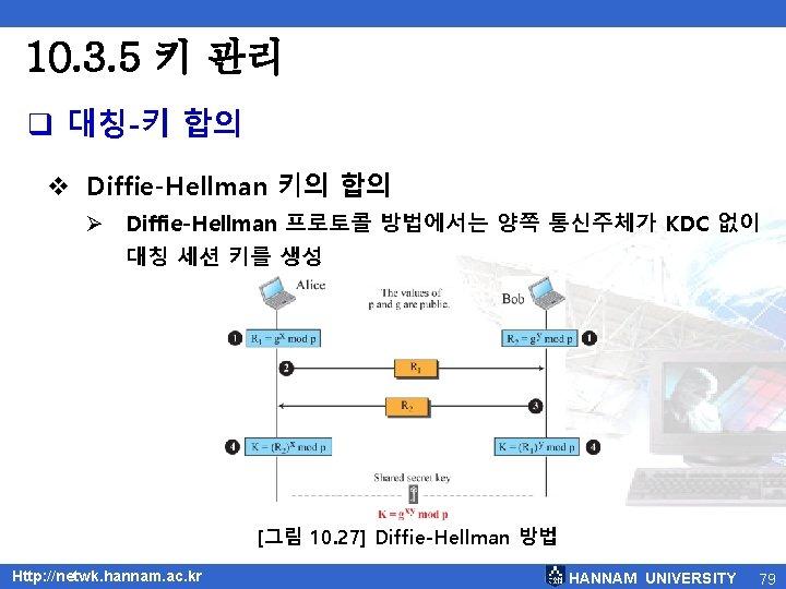 10. 3. 5 키 관리 q 대칭-키 합의 v Diffie-Hellman 키의 합의 Ø Diffie-Hellman