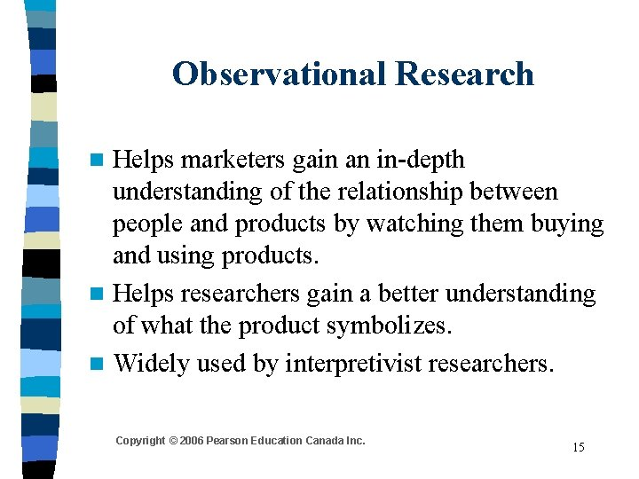 Observational Research Helps marketers gain an in-depth understanding of the relationship between people and