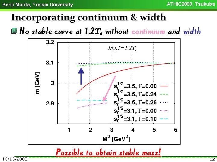 Kenji Morita, Yonsei University ATHIC 2008, Tsukuba Incorporating continuum & width No stable curve