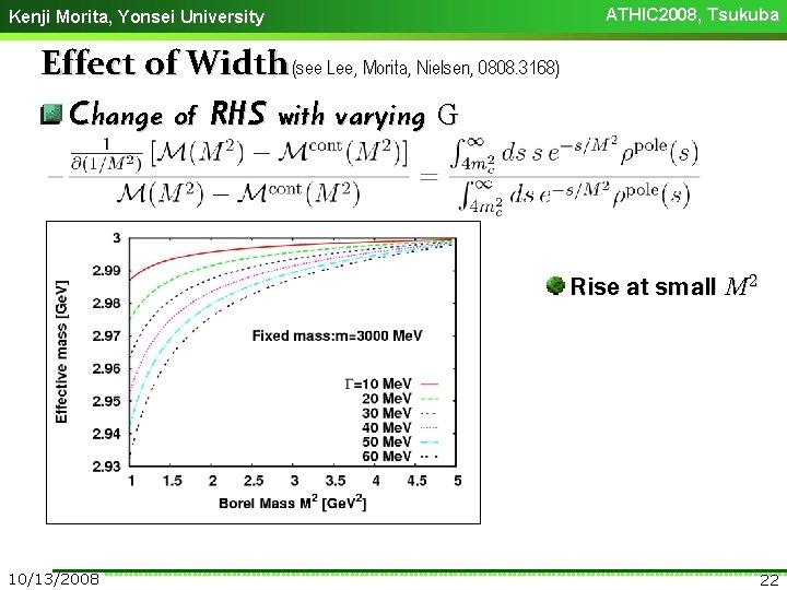Kenji Morita, Yonsei University ATHIC 2008, Tsukuba Effect of Width (see Lee, Morita, Nielsen,