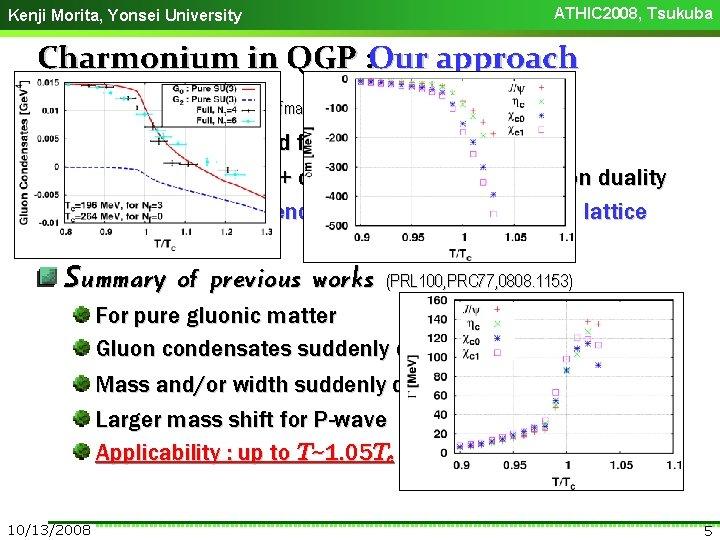 ATHIC 2008, Tsukuba Kenji Morita, Yonsei University Charmonium in QGP : Our approach QCD