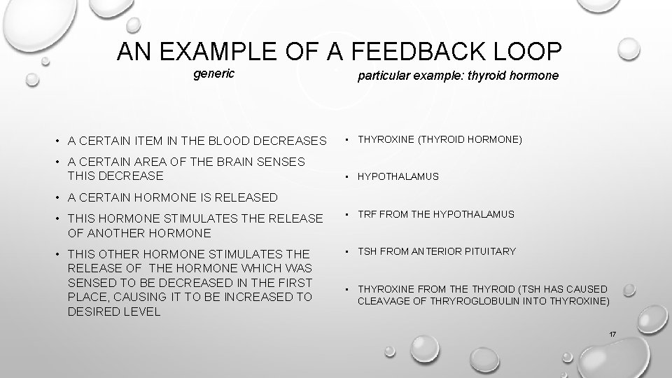 AN EXAMPLE OF A FEEDBACK LOOP generic particular example: thyroid hormone • A CERTAIN