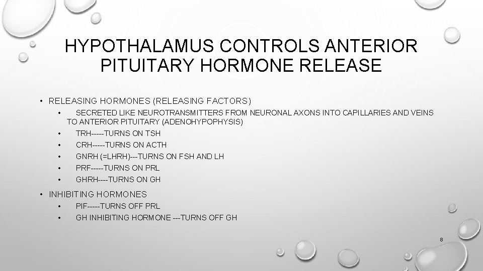 HYPOTHALAMUS CONTROLS ANTERIOR PITUITARY HORMONE RELEASE • RELEASING HORMONES (RELEASING FACTORS) • • •
