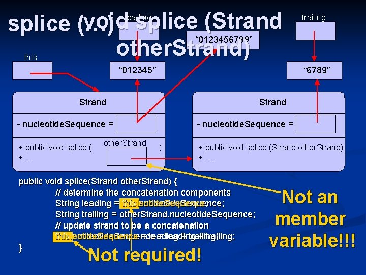 """void splice (Strand splice (…) """" 0123456789"""" other. Strand) leading trailing this """" 012345"""""""