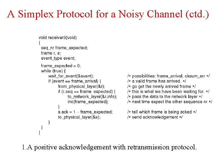 A Simplex Protocol for a Noisy Channel (ctd. ) 1. A positive acknowledgement with