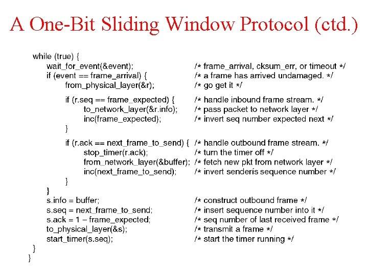 A One-Bit Sliding Window Protocol (ctd. )