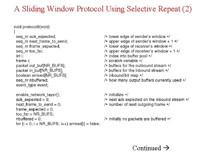 A Sliding Window Protocol Using Selective Repeat (2) Continued