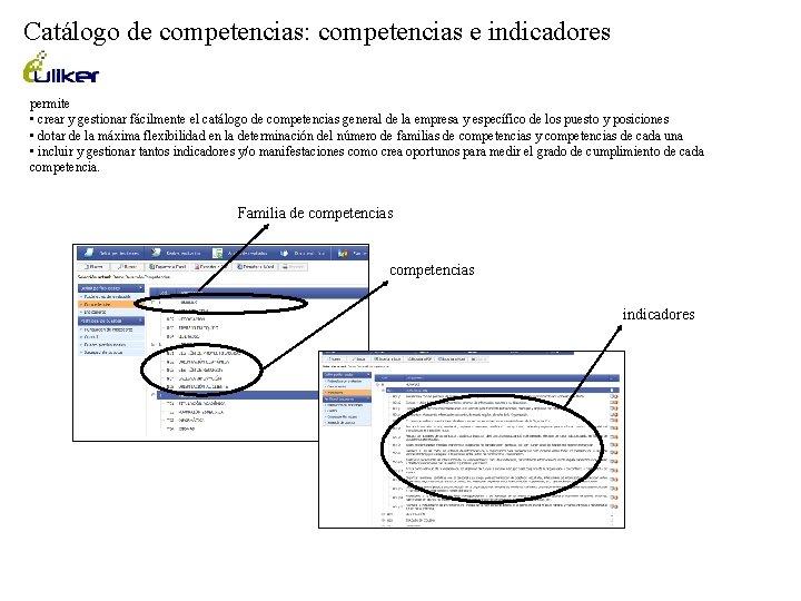 Catálogo de competencias: competencias e indicadores permite • crear y gestionar fácilmente el catálogo