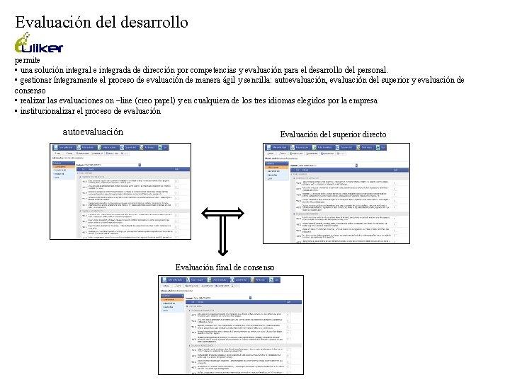 Evaluación del desarrollo permite • una solución integral e integrada de dirección por competencias