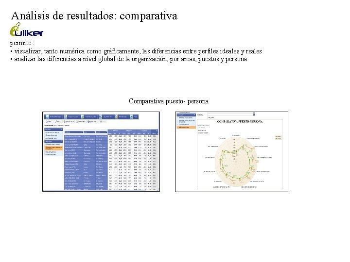 Análisis de resultados: comparativa permite : • visualizar, tanto numérica como gráficamente, las diferencias