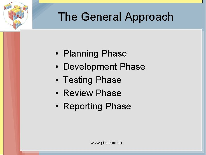 The General Approach • • • Planning Phase Development Phase Testing Phase Review Phase