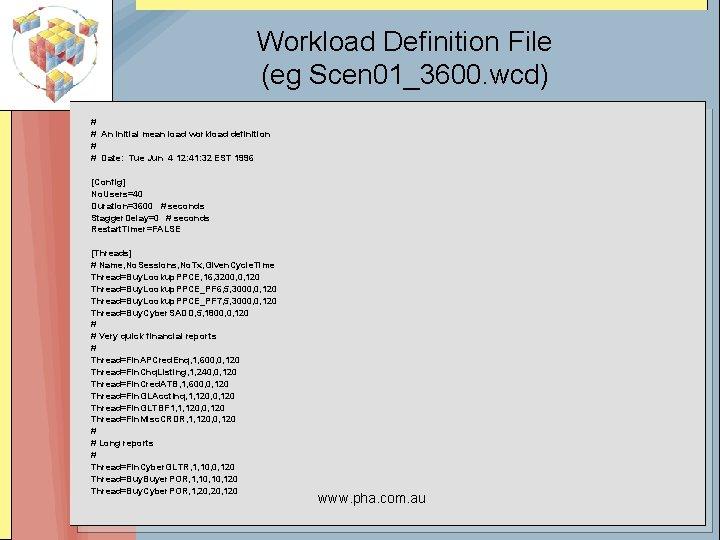 Workload Definition File (eg Scen 01_3600. wcd) # # An initial mean load workload