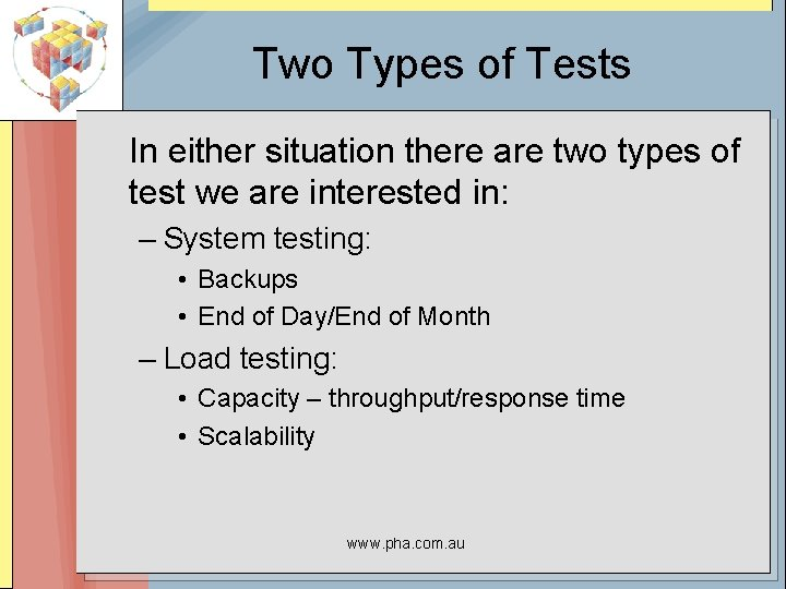 Two Types of Tests In either situation there are two types of test we