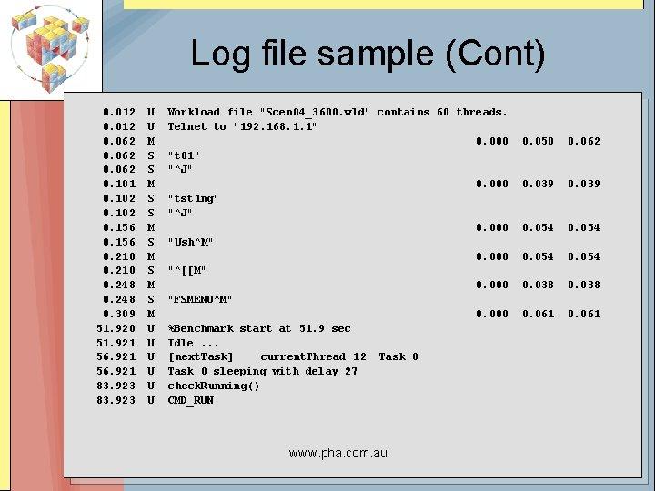 Log file sample (Cont) 0. 012 0. 062 0. 101 0. 102 0. 156