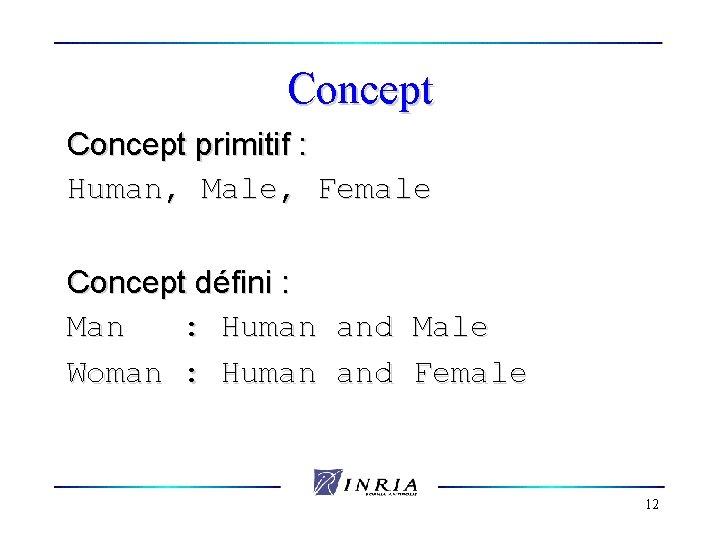 Concept primitif : Human, Male, Female Concept défini : Man : Human and Male