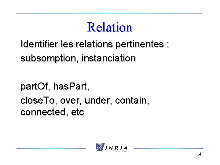 Relation Identifier les relations pertinentes : subsomption, instanciation part. Of, has. Part, close. To,