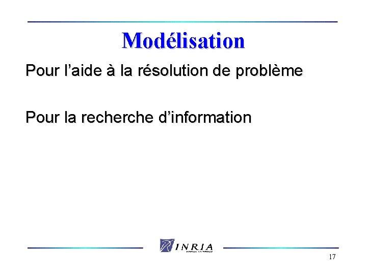 Modélisation Pour l'aide à la résolution de problème Pour la recherche d'information 17