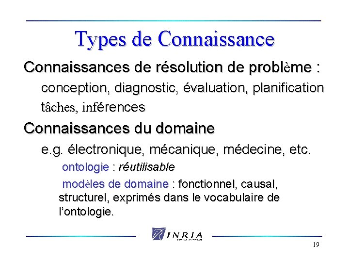 Types de Connaissances de résolution de problème : conception, diagnostic, évaluation, planification tâches, inférences