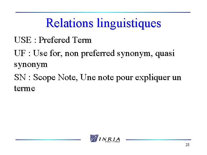 Relations linguistiques USE : Prefered Term UF : Use for, non preferred synonym, quasi
