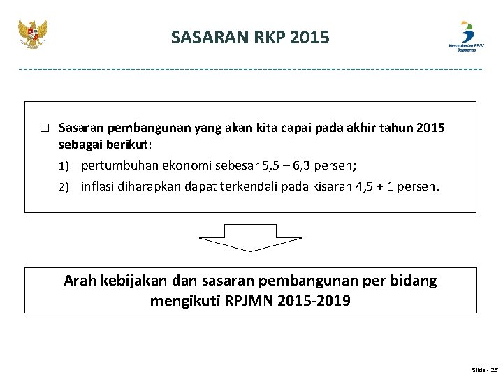 SASARAN RKP 2015 q Sasaran pembangunan yang akan kita capai pada akhir tahun 2015