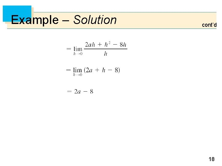 Example – Solution cont'd 18