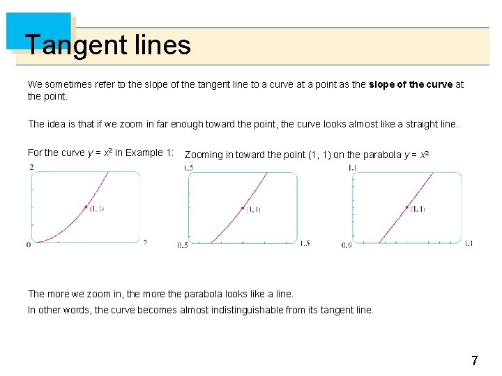 Tangent lines We sometimes refer to the slope of the tangent line to a