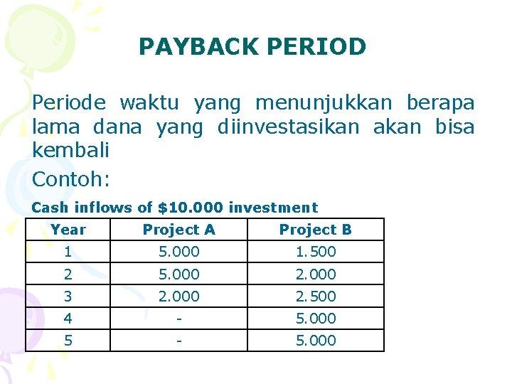 PAYBACK PERIOD Periode waktu yang menunjukkan berapa lama dana yang diinvestasikan akan bisa kembali