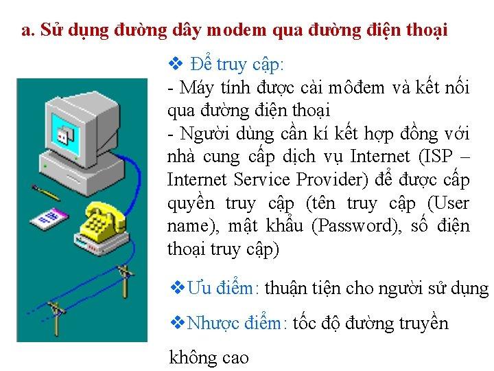 a. Sử dụng đường dây modem qua đường điện thoại v Để truy cập:
