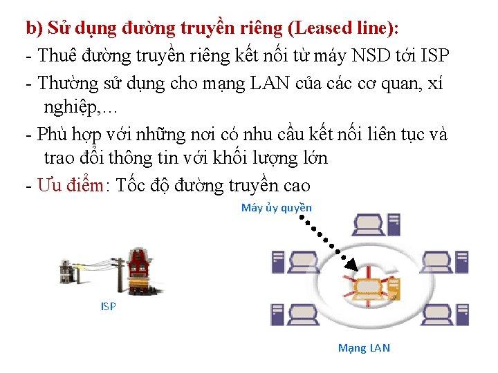 b) Sử dụng đường truyền riêng (Leased line): - Thuê đường truyền riêng kết