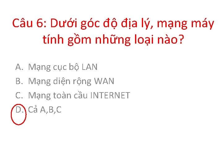Câu 6: Dưới góc độ địa lý, mạng máy tính gồm những loại nào?