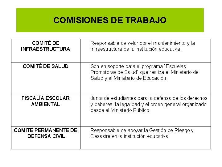 COMISIONES DE TRABAJO COMITÉ DE INFRAESTRUCTURA Responsable de velar por el mantenimiento y la