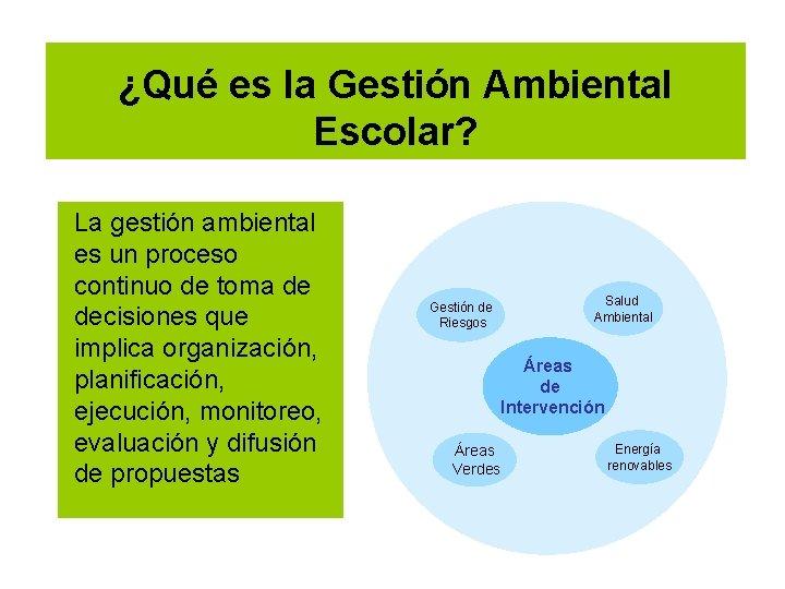¿Qué es la Gestión Ambiental Escolar? La gestión ambiental es un proceso continuo de