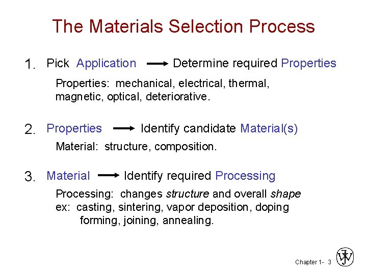 The Materials Selection Process 1. Pick Application Determine required Properties: mechanical, electrical, thermal, magnetic,