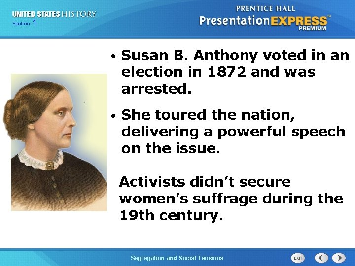 Chapter Section 1 25 Section 1 • Susan B. Anthony voted in an election