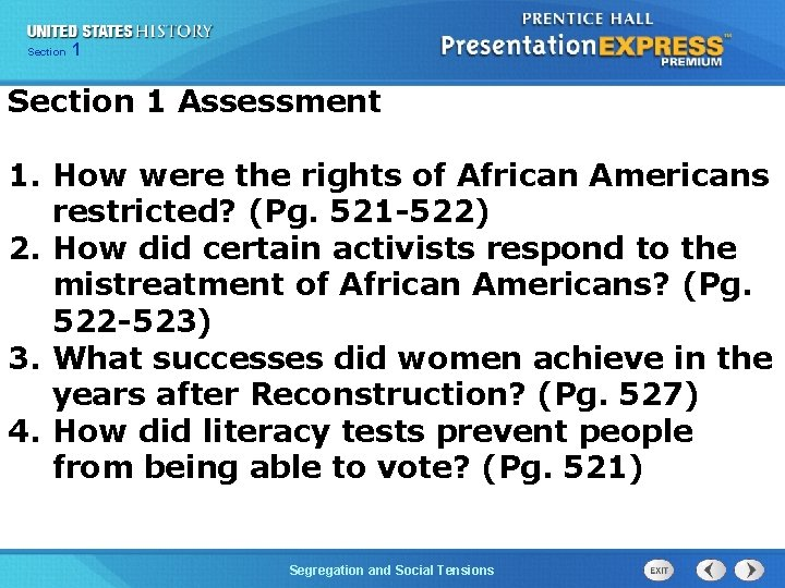 Chapter Section 1 25 Section 1 Assessment 1. How were the rights of African