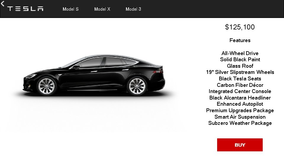 Model S Model X Model 3 $125, 100 Features All-Wheel Drive Solid Black