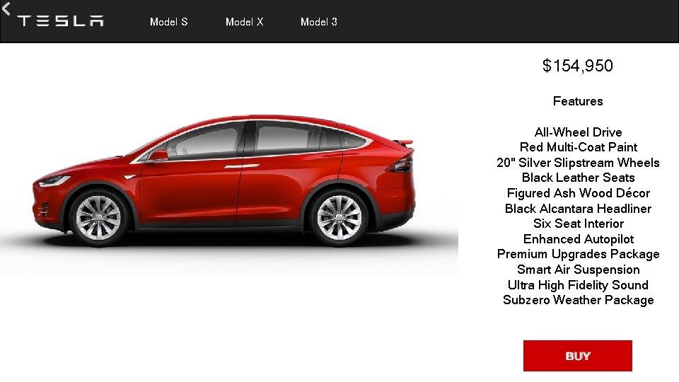 Model S Model X Model 3 $154, 950 Features All-Wheel Drive Red Multi-Coat